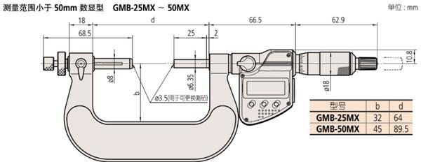 日本三丰齿轮外径千分尺324-251-30尺寸图