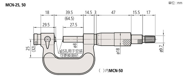 日本三丰万能千分尺116-101尺寸图