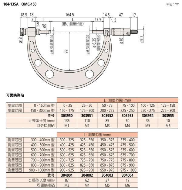 日本三丰外径千分尺104-136尺寸图