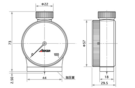 日本ASKER橡胶硬度计D型尺寸图