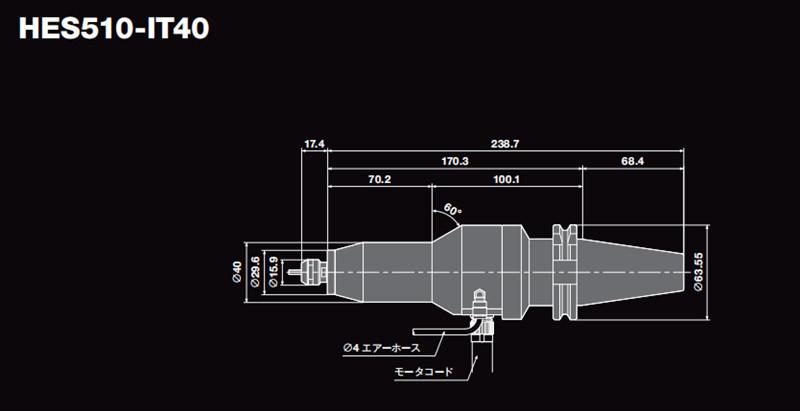 高速主轴HES510-IT40尺寸图