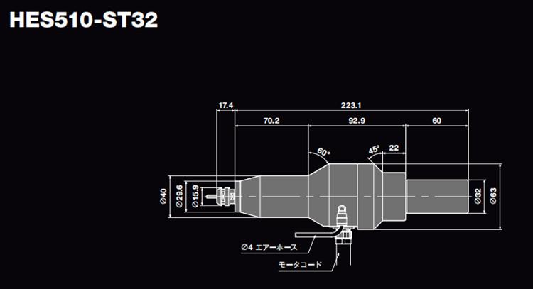 日本NAKANISHI高速主轴HES510-ST32尺寸图