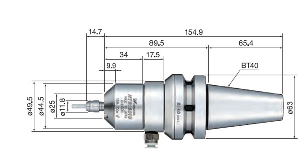 HTS1501S-BT40气动主轴尺寸图