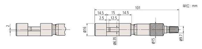 日本三丰线材千分尺147-401尺寸图