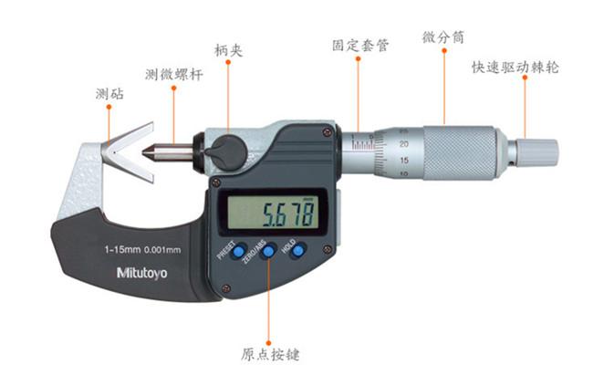 日本三丰V型测砧千分尺314-251-30示意图