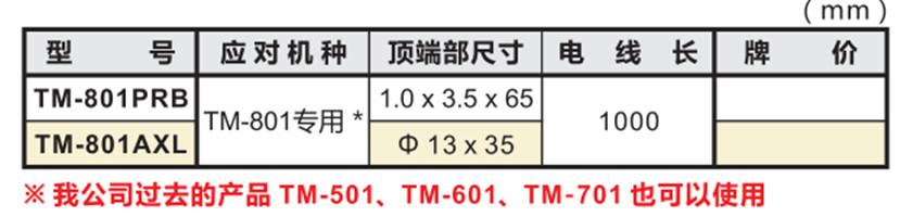 高斯计探头TM-801PRB尺寸图