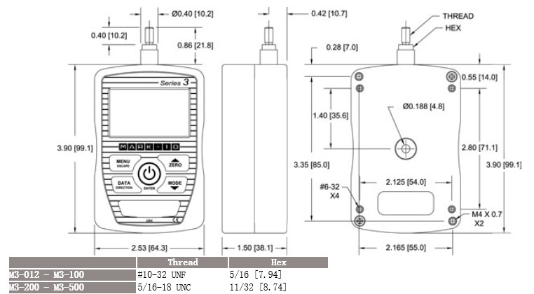 美国MAKE-10数字测力计Series3尺寸图