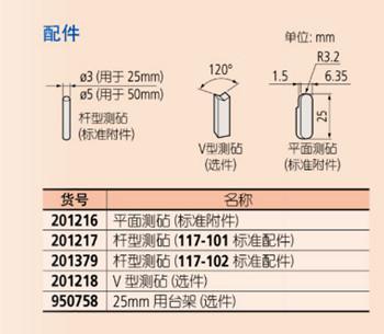 日本三丰Uni-Mike千分尺117-101配件