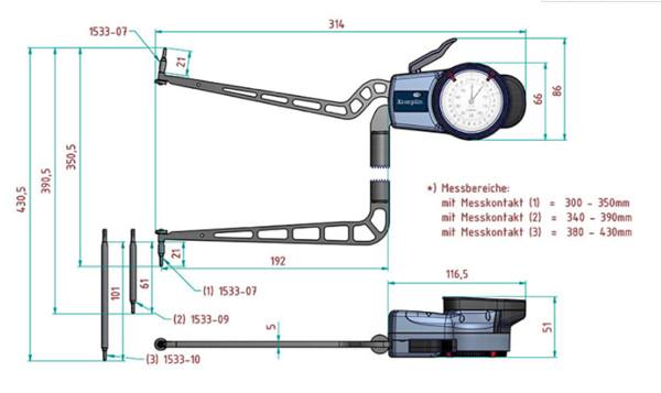 德国Kroeplin内径卡规H4M300尺寸图