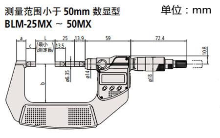 日本三丰薄片型千分尺422-230-30尺寸图