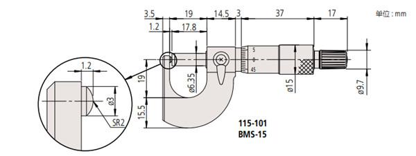 日本三丰管材千分尺115-115尺寸图