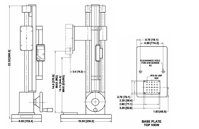 美国mark-10手轮测力计支架ES30尺寸图